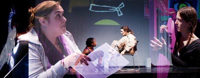 Photo composite: composer with score / graphic light projections / 2 dancers on stage / musician with harp