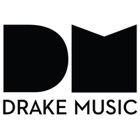 Image: Drake Music logo, showing large letters DM in black on white background