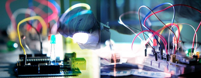 Photo composite: electronic wires, components and circuitry / hand wearing MiMu glove accessible instrument
