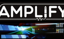 Image: Amplify logo with overlayed images of music software and expanding spotlights