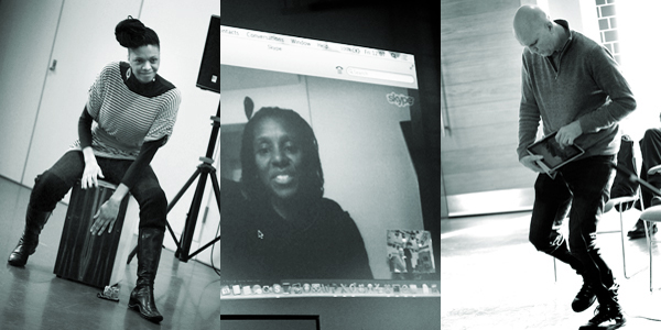 Image: Zena Edwards playing cajon box drum, Sheron Wray via Skype projection, Ivan Riches playing iPad and dancing
