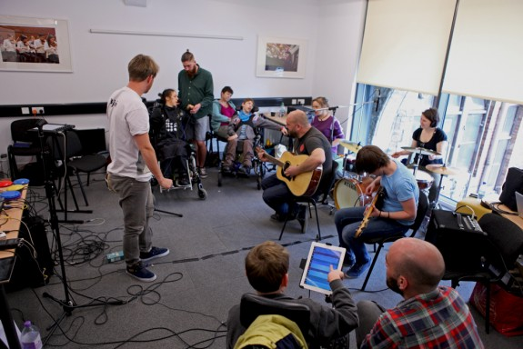 Absorbed By Sound music group rehearsing