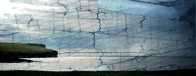 Image: Orkney seascape overlaid with natural patterns in stone, resembling drawing