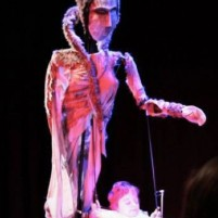 Image: Sophie Partridge with 7 foot tall puppet