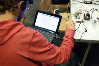 Coder working on new accessible instrument