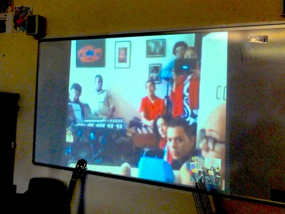 Skyping with young disabled musicians in Brazil