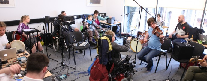 Rehearsal room for inclusive music group Absorbed By Sound