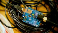 close up of the SKPang DMX Shield for Arduino