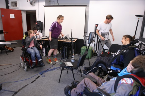 Inclusive music ensemble Bristol, practising in the rehearsal room