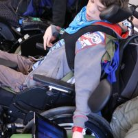 Young musician in wheelchair plays Thumbjam iPad app
