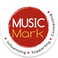 Logo - 'Music Mark' written on a red circle with the words Influencing, Supporting, Connecting surrounding it