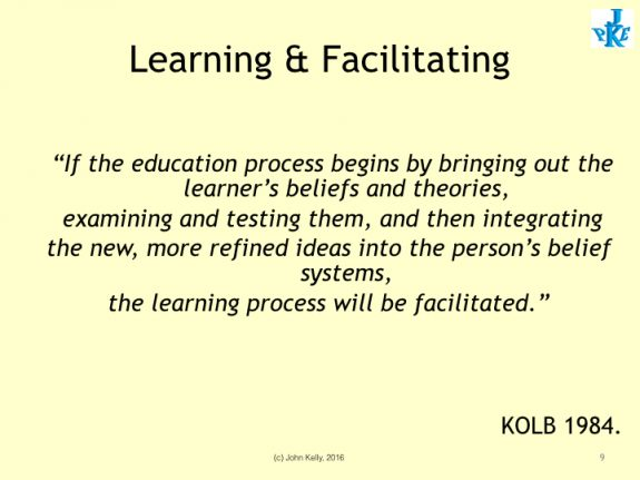 "Learning & Facilitating slide by Kolb, 1984. ""If the education process begins by bringing out the learners beliefs and theories, examining and testing them, and then integrating new, more refined ideas into the person's belief system, the learning process will be facilitated."""