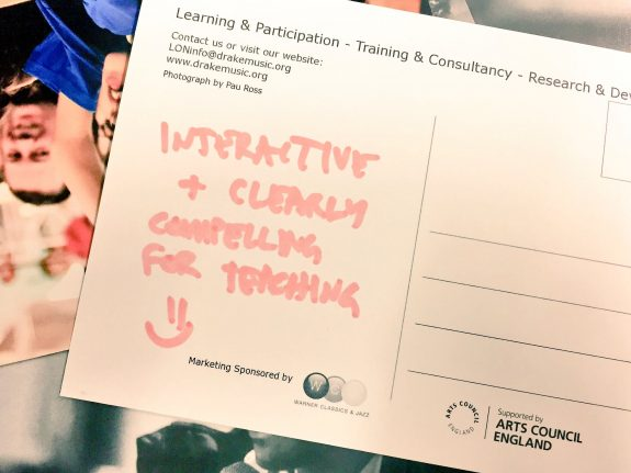 """Mozfest2016 DMLab participant comment card reading """"Interactive & clearly compelling for teaching"""".."""