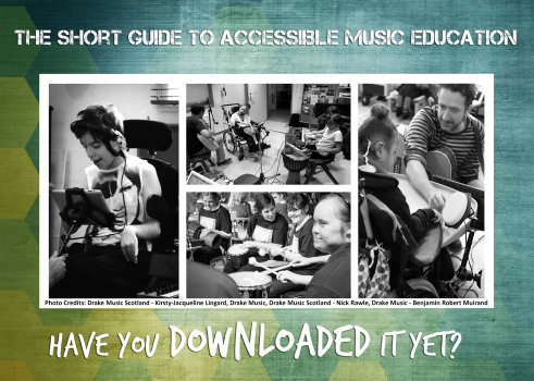 "Postcard promoting the Guide showing black and white images of music workshops with the text ""Have You Downloaded It Yet?"""