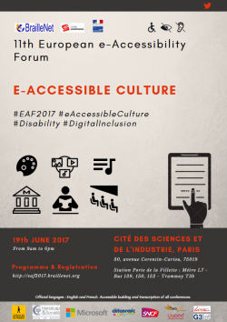 Poster for the E-accessible Forum showing icons and text regarding digital inclusion