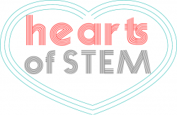 Logo in blue, red & grey - a heart with hearts of STEM written inside