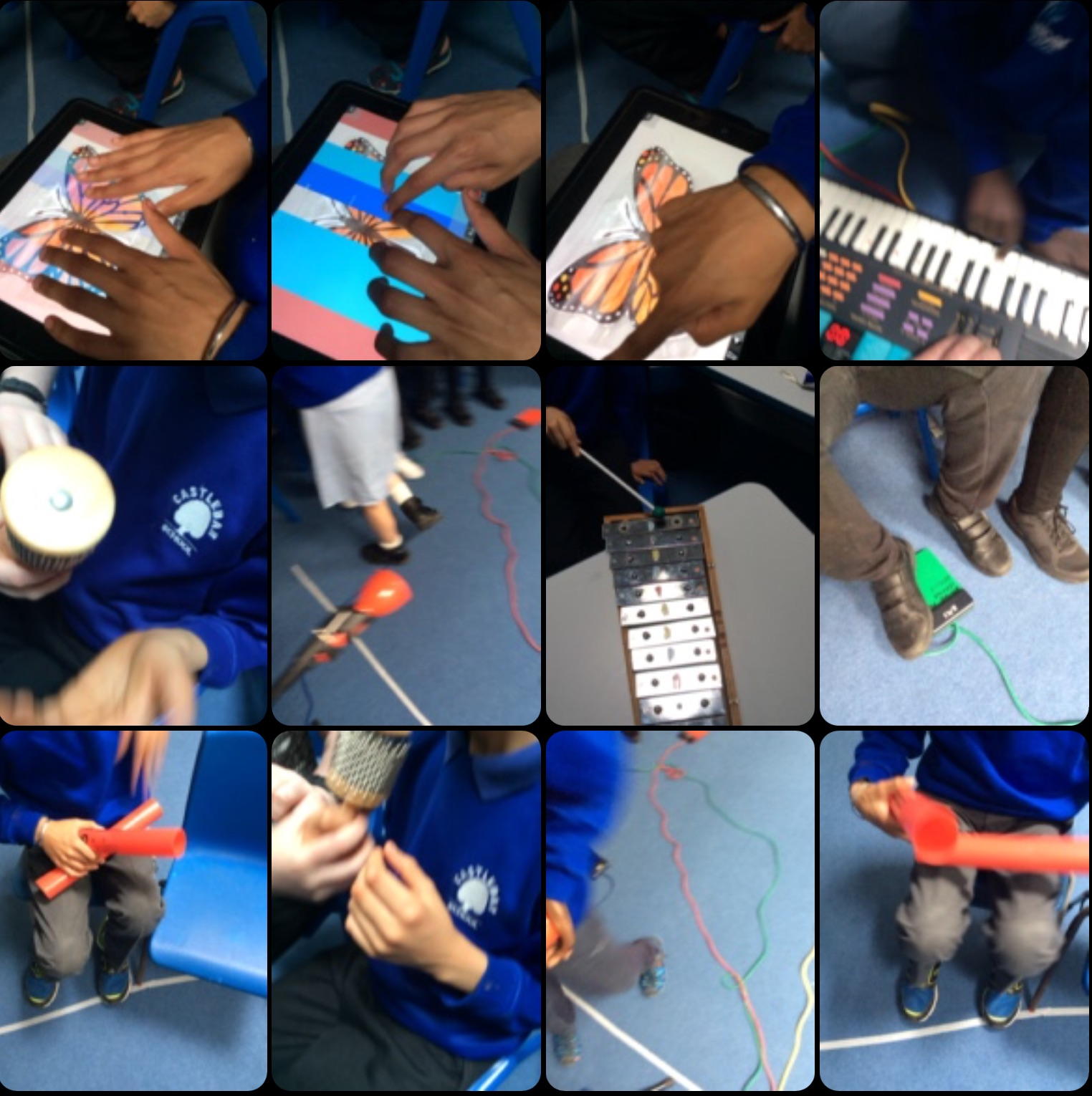 Video screenshot from the Mad Pad app showing 12 squares of different images of instruments