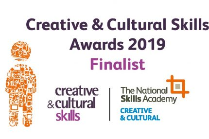 Branded image saying 'Creative and Cultural Skills Awards 2019 finalist'