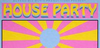 A colourful pink, yellow and pale blue illustration of a sun with rays coming out of the centre and the words House Party in a funky font.