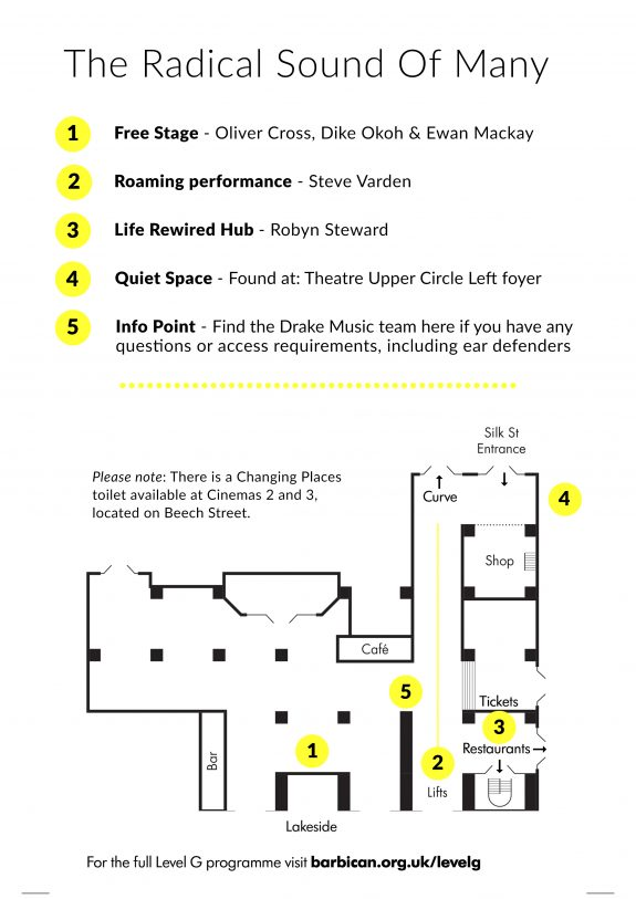 Map of Level G of the Barbican showing where performances will take place