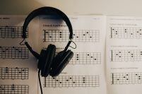 Headphones on sheet music