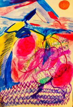 A colourful abstract image in vibrant pinks, blues, yellows
