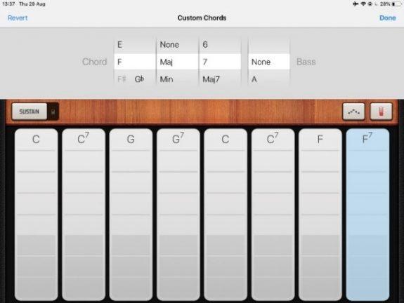 Screengrab of chord menu