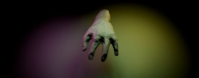 A computer generated image of a hand with four digits lit in purple and yellow