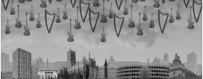 Harps and guitars hover in the air over a cityscape of Hull. A grey collaged image taken from a music video.