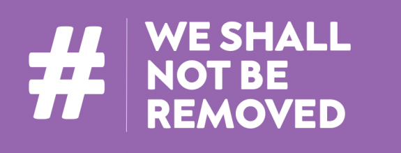 We shall not be removed logo in white on purple