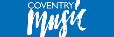 White text says Coventry Music on a blue background. It is written with a flourish.