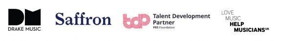 Logos: Drake Music, Saffron, PRS and Help Musicians UK