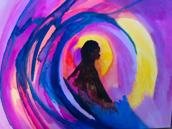 A swirl of painted colour in rich blues and pinks coruls over a small figure silhouetted at the centre