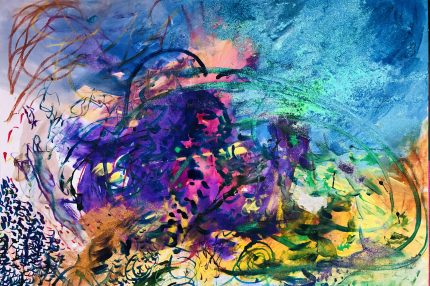 Painting: A vibrant textured blue leads down from the top right corner into a swirling mass of yellow, rich purple and pink at the centre.