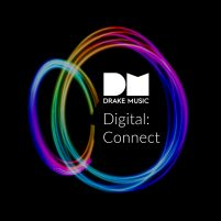 Black background, circles of rainbow coloured light and the DM logo
