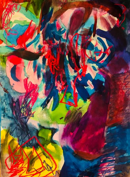 A vibrant painting with jags of scarlet, floods of lime green and deep blue. Very energetic.