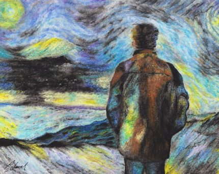 Artwork in pastel showing a man's back as he looks out to a landscape