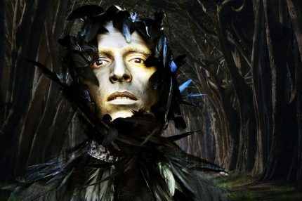 a man's face, in gold paint, he is in a fantastical sort of scene, with black feathers and darkness around him.