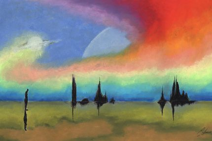 A painting of a landscape with silhouette trees and a mysterious sweep of rainbow colours in the sky