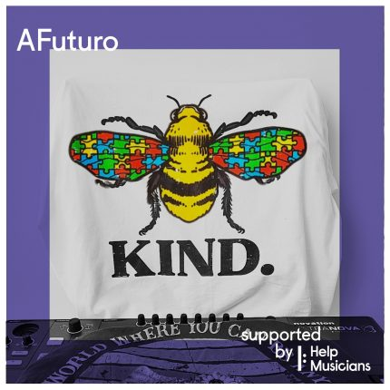 Digital collage saying AFuturo and 'supported by Help Musicians' it features an illustration of a bee with jigsaw wings and underneath the word 'kind'.